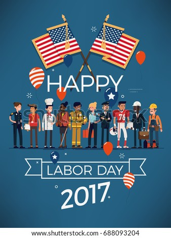 Happy American Labor Day Poster Or Banner Template