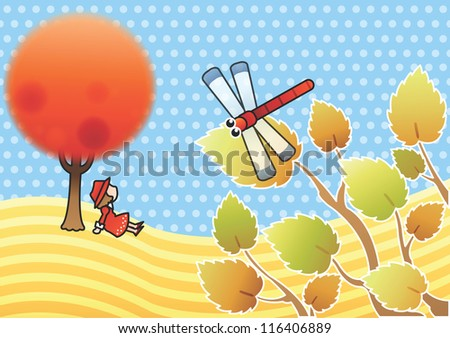 Happy and beautiful Landscape - enjoying cute young girl on the hill with dotted blue background : vector illustration - stock vector