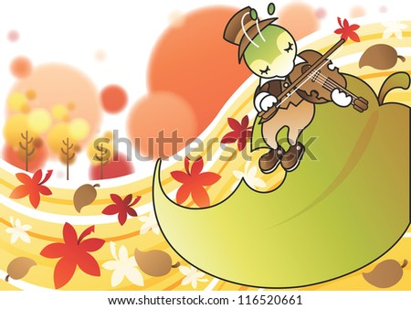 Happy and Beautiful Landscape - playing music cute young cricket on the green leaf in romantic garden with white background : vector illustration - stock vector