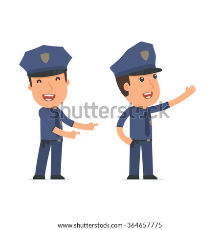 Happy and Cheerful Character Officer making presentation using his hand. for use in presentations, etc.