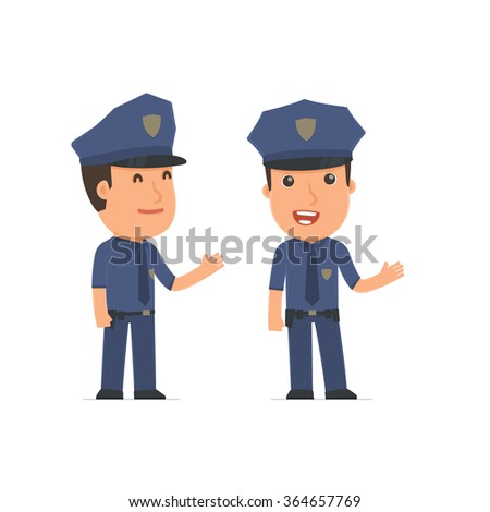 Happy and Intelligent Character Officer making presentation using his hand. for use in presentations, etc.