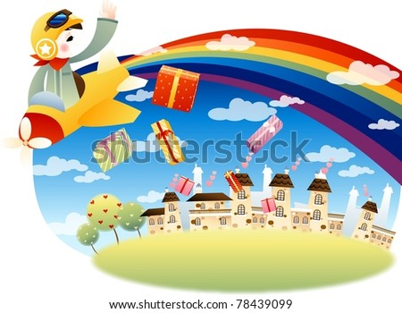 Happy and Joyful Child with Many Presents - on white background : vector illustration
