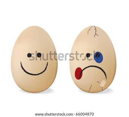 Happy and sad egg. - stock vector