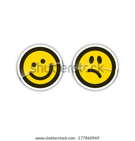 Happy and sad emotion stickers - stock vector