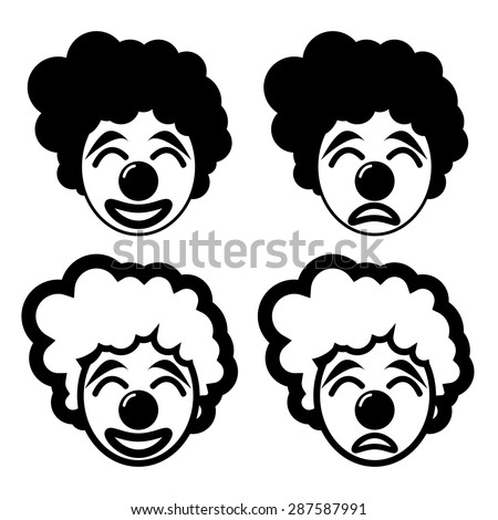 happy and sad joker in silhouette and linear icon style - stock vector