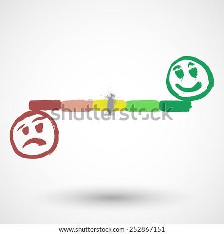 Happy and Sad Smiley Icon on Progress Bar - stock vector