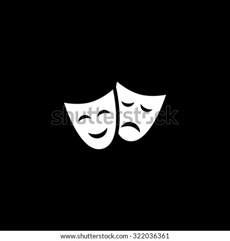 Happy and sad Theater masks. Simple flat icon. Black and white. Vector illustration - stock vector