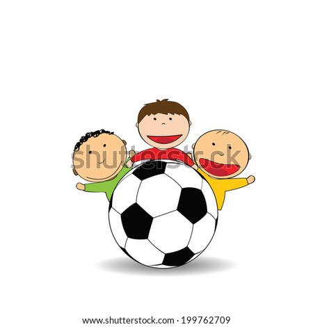 Happy and small boys with soccer ball - stock vector