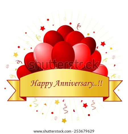 Happy Anniversary card in red letters with beautiful red balloons and confetti on white background with golden banner / frame. For personal wedding event or anniversaries. - stock vector