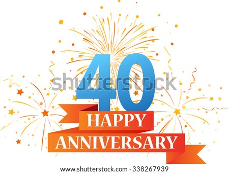 Happy anniversary celebration with fireworks - stock vector