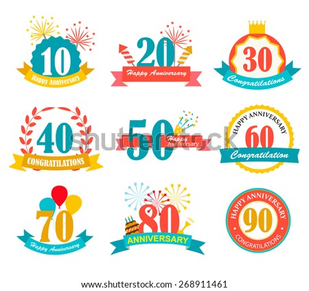 Happy anniversary festive signs set, vector illustration. - stock vector