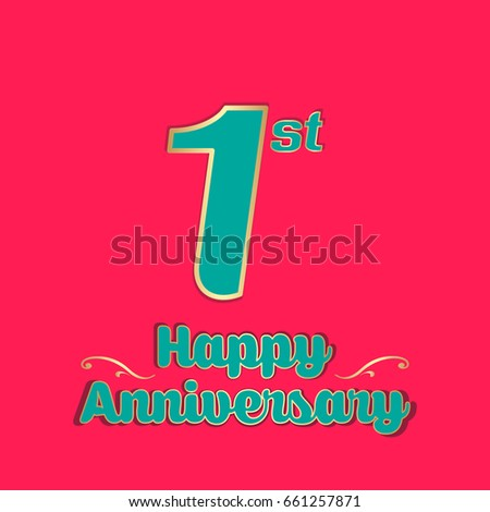 Happy anniversary greeting card vector illustration stock vector happy anniversary greeting card vector illustration first year celebration banner 1st anniversary creative text m4hsunfo