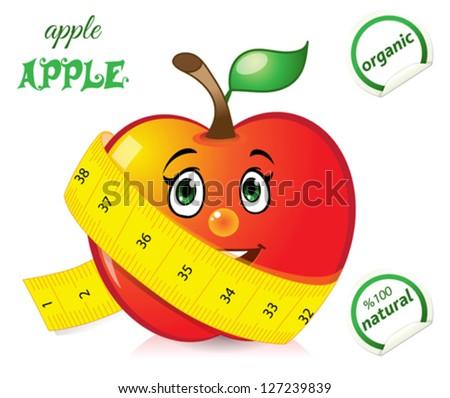 Happy apple - stock vector