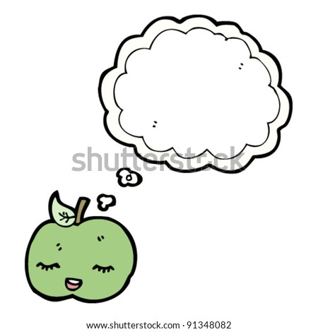happy apple with thought bubble cartoon