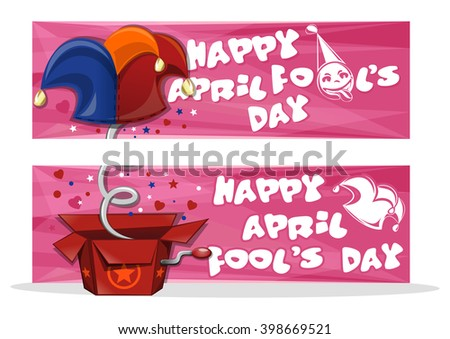 Happy April Fool's Day. Set banners for April Fool's Day with jack in the box toy, springing out of a box. Vector illustration - stock vector