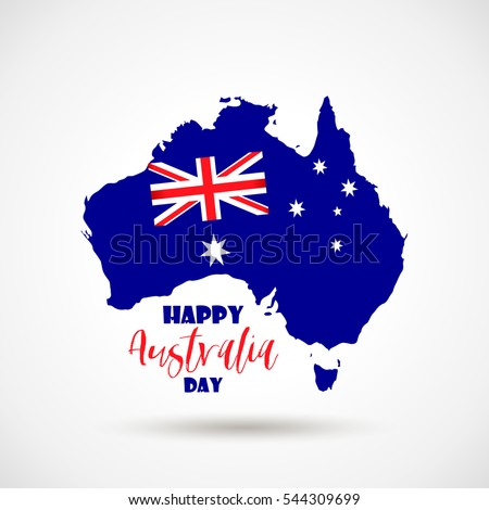 Happy Australia day 26 january festive background with flag, balloon, confetti, ribbon with national colors. Blue, red, white. Template design layout for card, banner, poster, flyer, card. Union jack.