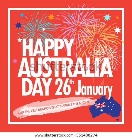 Happy australia day 26th january greeting stock vector 2018 happy australia day 26th january greeting card holiday vector illustration with australia map flag m4hsunfo