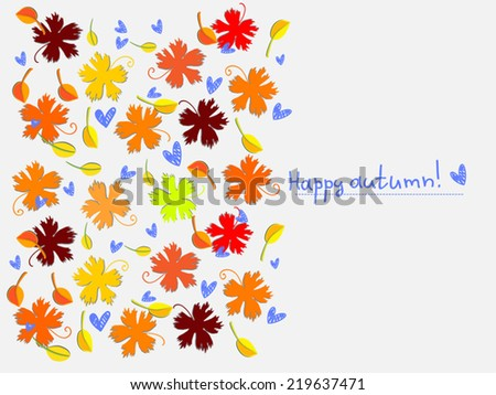 Happy autumn illustration. Autumn Floral background with leaf fall and hearts. Vector silhouettes. Vertical page design. Isolated on white. As page design element, for craft paper, scrapbook. - stock vector