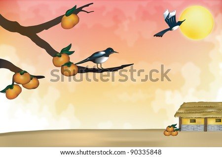 Happy Autumn Scene - stock vector