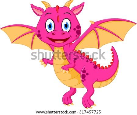Happy baby dragon cartoon - stock vector