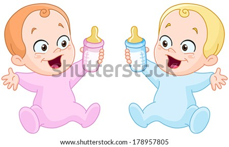 Happy baby girl and baby boy holding bottles - stock vector