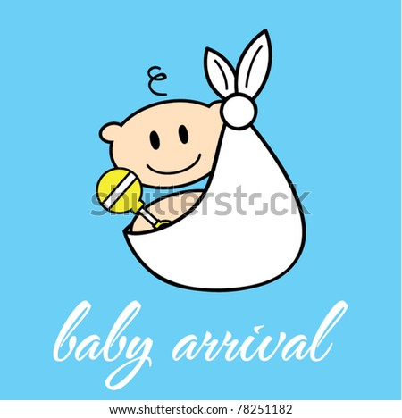 Happy baby in a white cloth vector illustration - stock vector