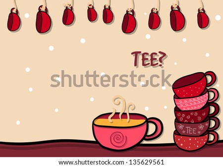 Happy background with  funny cups - stock vector