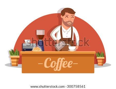 Happy barista. hand of barista making latte or cappuccino coffee pouring milk making latte art - stock vector