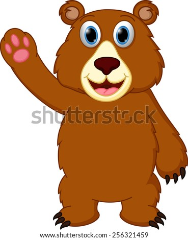 Happy bear cartoon waving hand  - stock vector