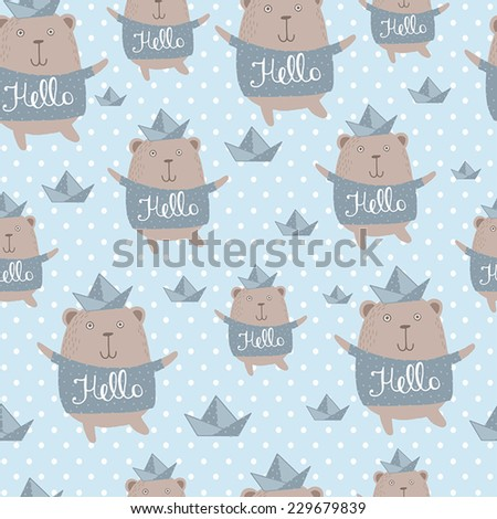 Happy Bear, Hello, Children's seamless background. - stock vector