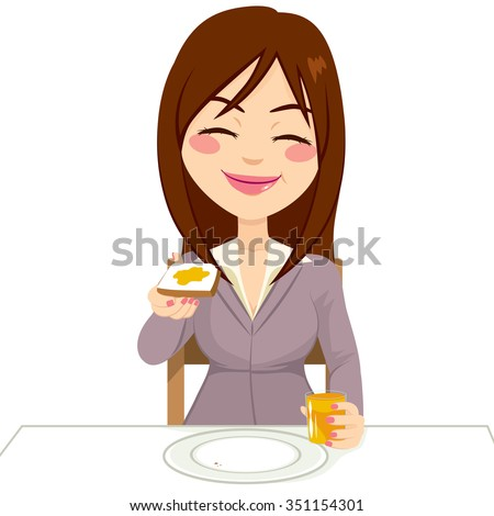 Happy beautiful brunette woman having breakfast eating tasty toast with butter and drinking orange juice - stock vector