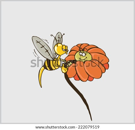 Happy Bee Holding Flower And Kiss - Vector Illustration