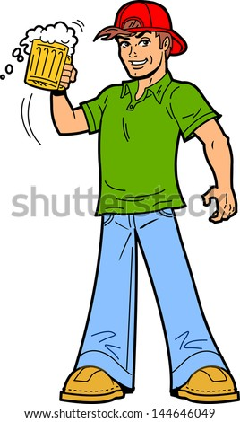 Happy Beer Drinker Lifting His Mug As a Toast To Say Cheers - stock vector