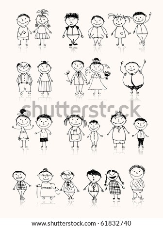 Happy big family smiling together, drawing sketch - stock vector