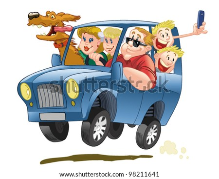 Happy big family, traveling in a blue SUV