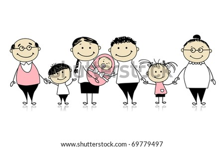 Happy big family with children, newborn baby - stock vector