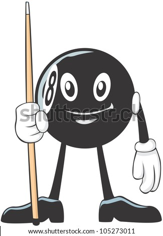 Happy Billiards Eight Ball Player Illustration - stock vector