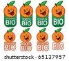 Happy Bio Orange Seal in vectors - stock vector