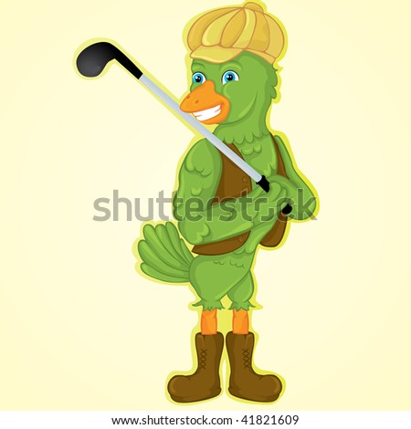 happy bird with at golf - stock vector