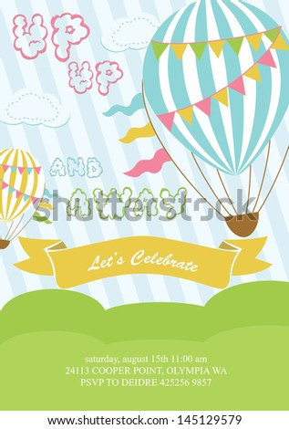 happy birthday air balloon card design. vector illustration - stock vector