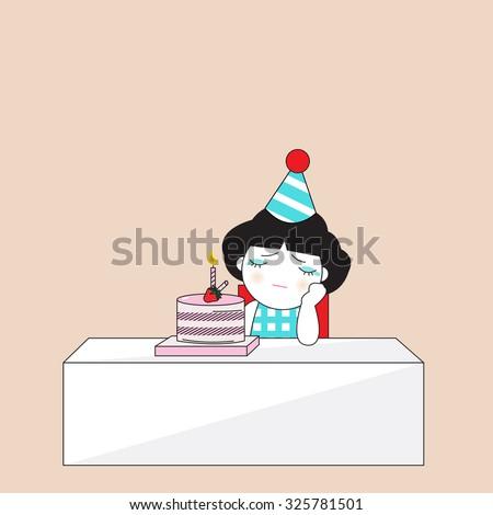 Happy Birthday Alone Character illustration - stock vector