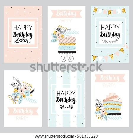 Happy birthday and invitation card with golden sparkle dots, cake and flowers . Greeting cards in vintage style, pastel colors. Vector illustration.