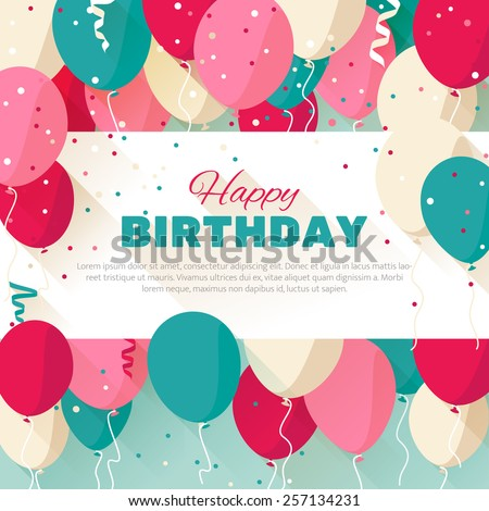Happy birthday announcement poster flyer greeting stock vector happy birthday announcement poster flyer greeting card in a flat style bookmarktalkfo Choice Image