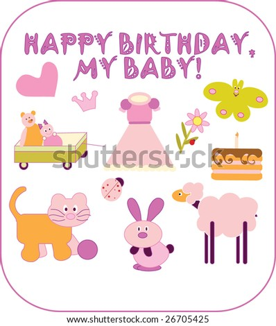 Happy Birthday Baby Card Vector Stock Vector 26705425 Shutterstock