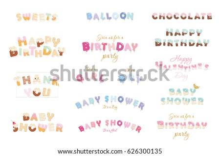 Happy Birthday, Baby Shower, Valentineu0027s Day. Sweet, Balloon, Chocolate  Letters.