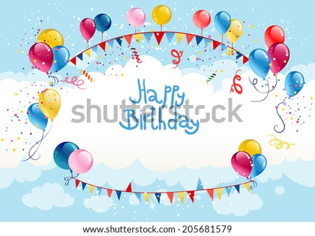 Happy birthday background in blue sky with place for text - stock vector