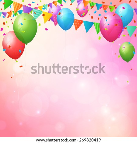 Happy birthday background poster with balloons and flags. layered - stock vector