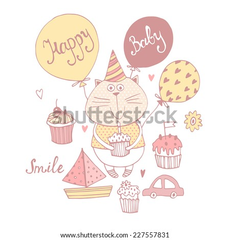 Happy birthday background.Stylish shower card with baby cat. - stock vector
