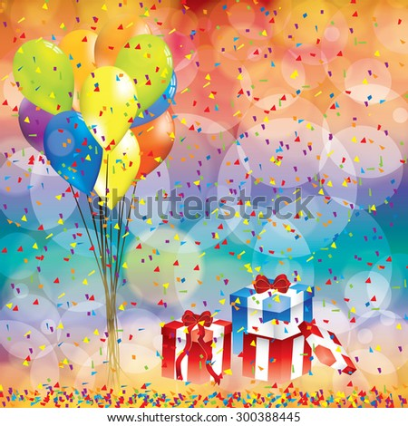 Happy birthday background with balloon and gifts - stock vector