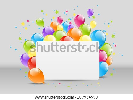 Happy Birthday background with banner and balloon